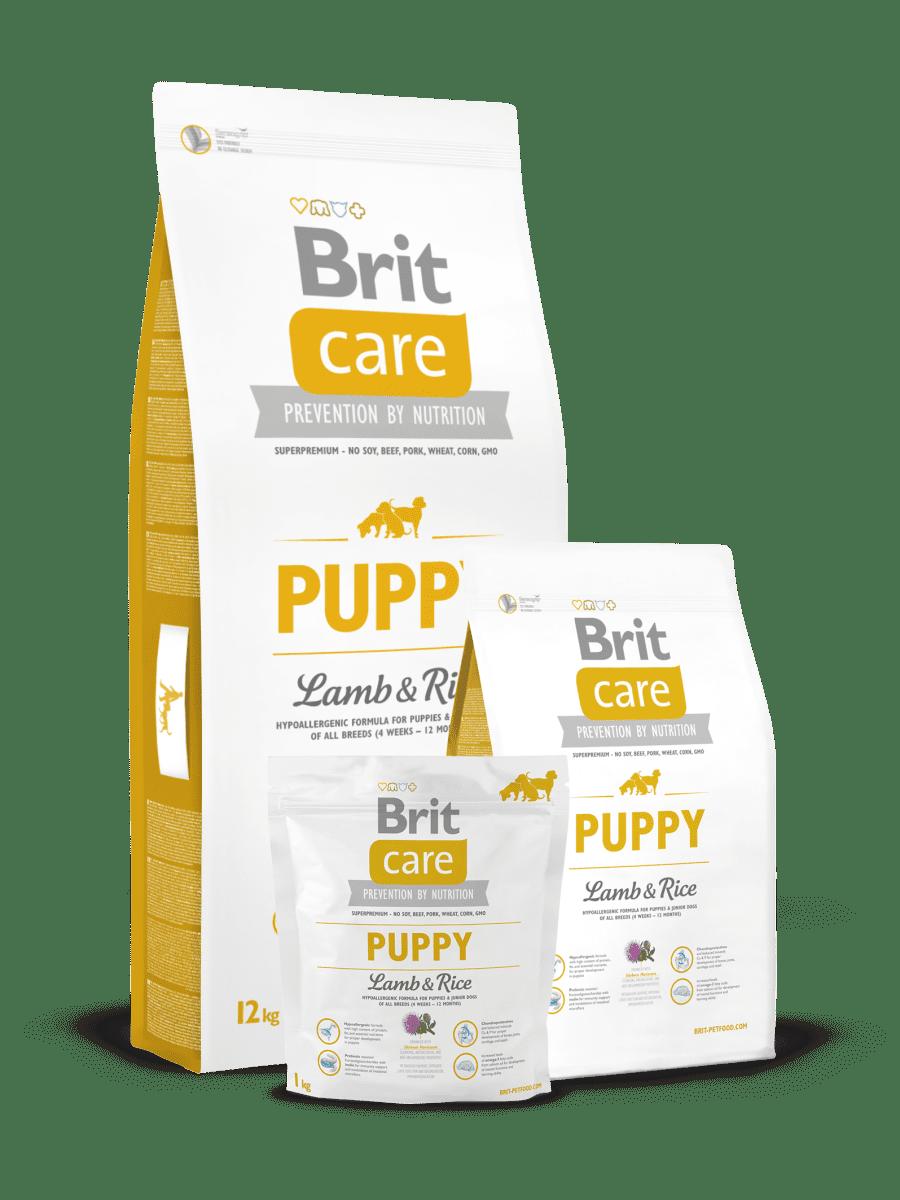 BRIT CARE PUPPY LAMB & RICE – гіпоалергенний сухий корм з ягням і рисом для цуценят великих порід
