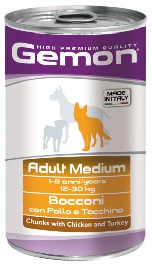 Gemon Adult Medium Chunks with Chicken and Turkey – консерви з шматочками курки та індички для дорослих собак середніх порід