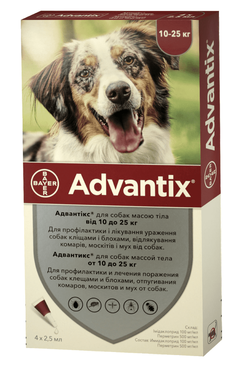 Advantix капли от блох и клещей для собак весом от 10 кг до 25 кг