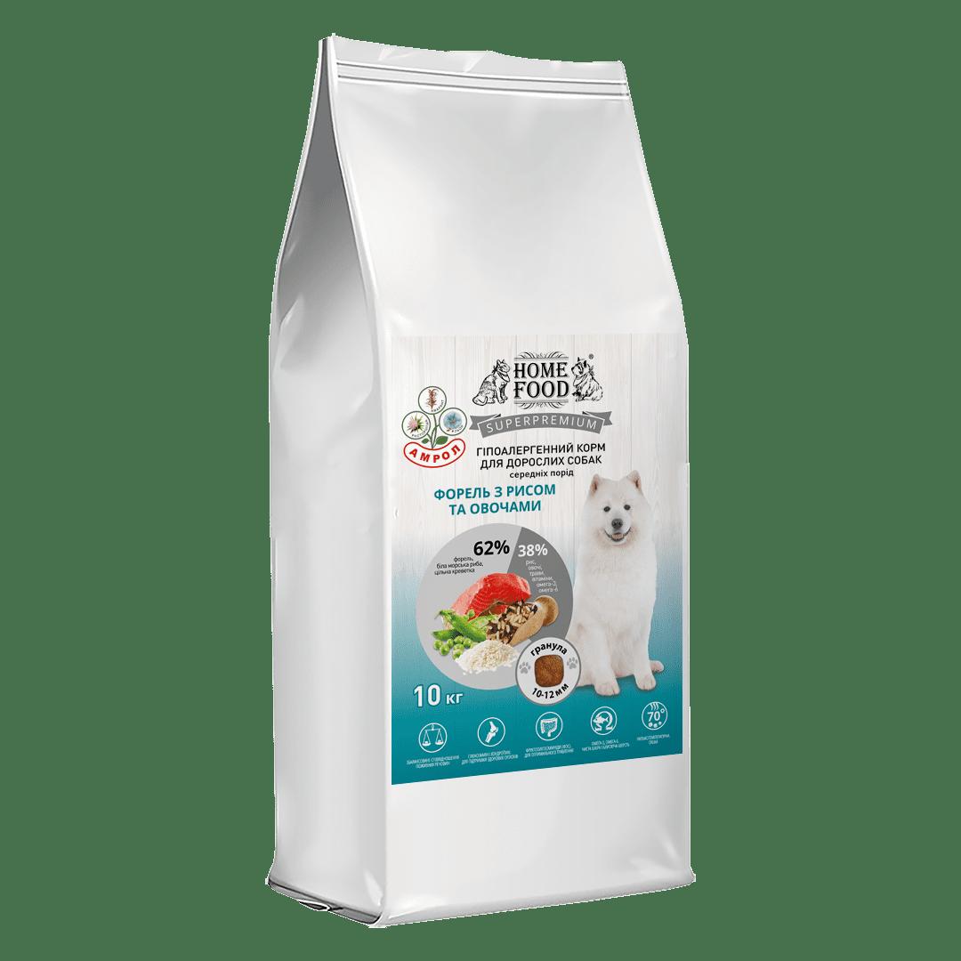 Home Food с форелью, рисом и овощами сухой корм для взрослых собак средних пород