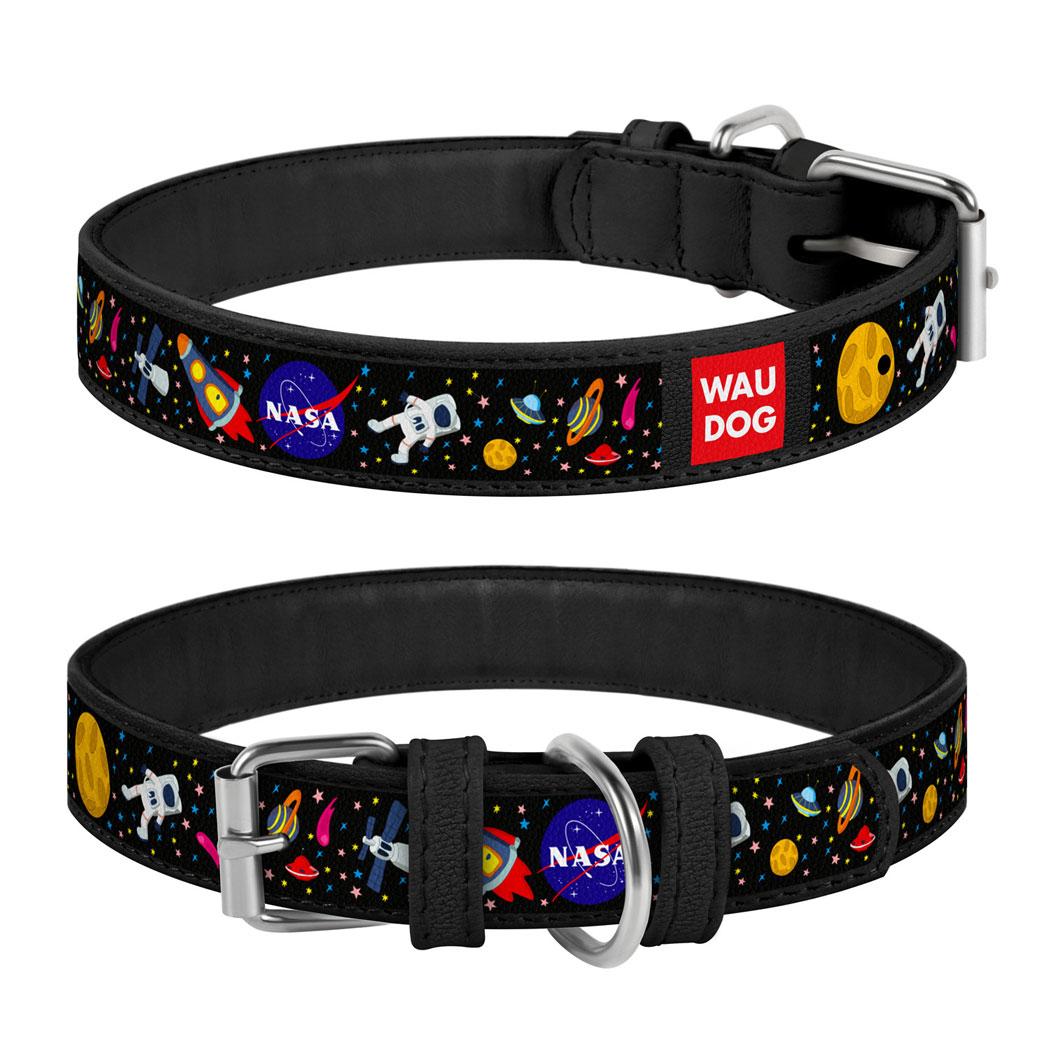 """WAUDOG """"NASA"""" шкіряний нашийник для собак, 12 мм"""