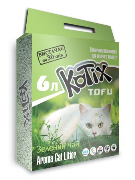 Kotix Tofu Green Tea – соевый наполнитель для кошачьего туалета
