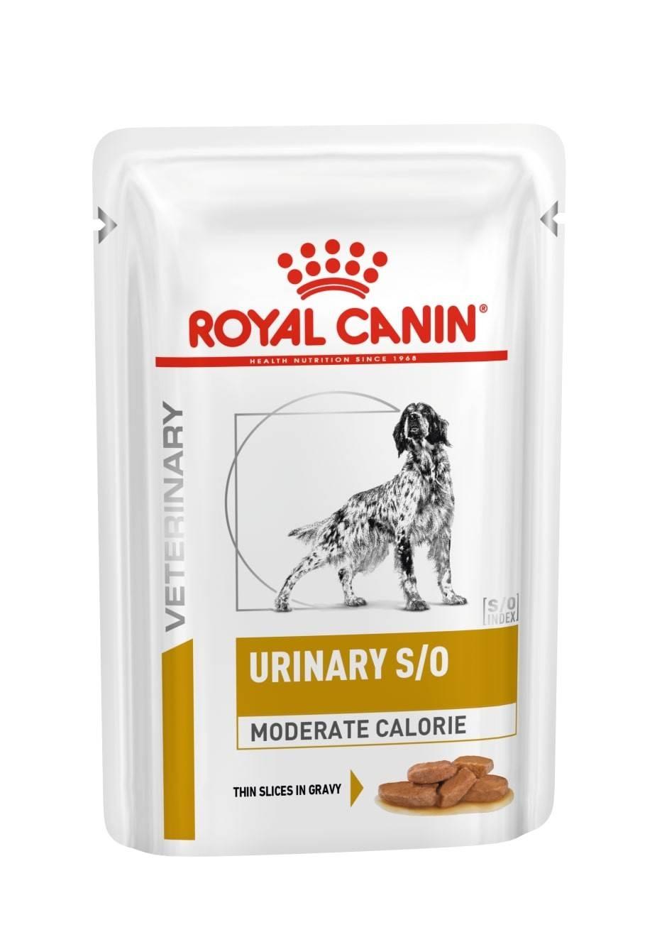 ROYAL CANIN URINARY S/O MODERATE CALORIE – лечебный влажный корм, кусочки в подливе, для собак при заболеваниях нижних мочевыводящих путей