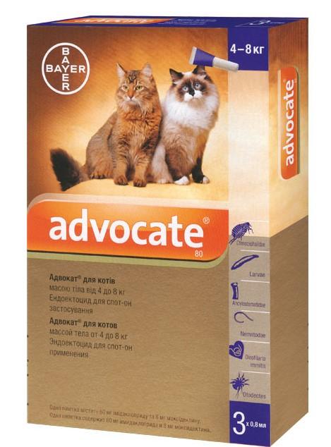Advocate противопаразитарные капли для котов весом 4-8 кг