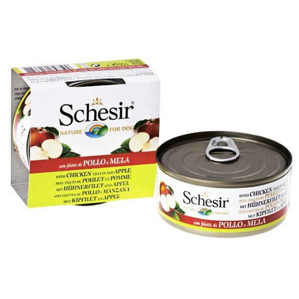 Schesir Chicken Аpple – консервы с курицей и яблоком для взрослых собак