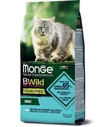 MONGE CAT GRAIN FREE MERLUZZO CON PATATE E LENTICCHIE  – сухий беззерновий корм із тріскою, картоплею та сочевицею для дорослих котів