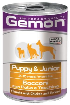 Gemon Puppy & Junior Chunks with Chicken and Turkey – консерви з куркою та індичкою для цуценят
