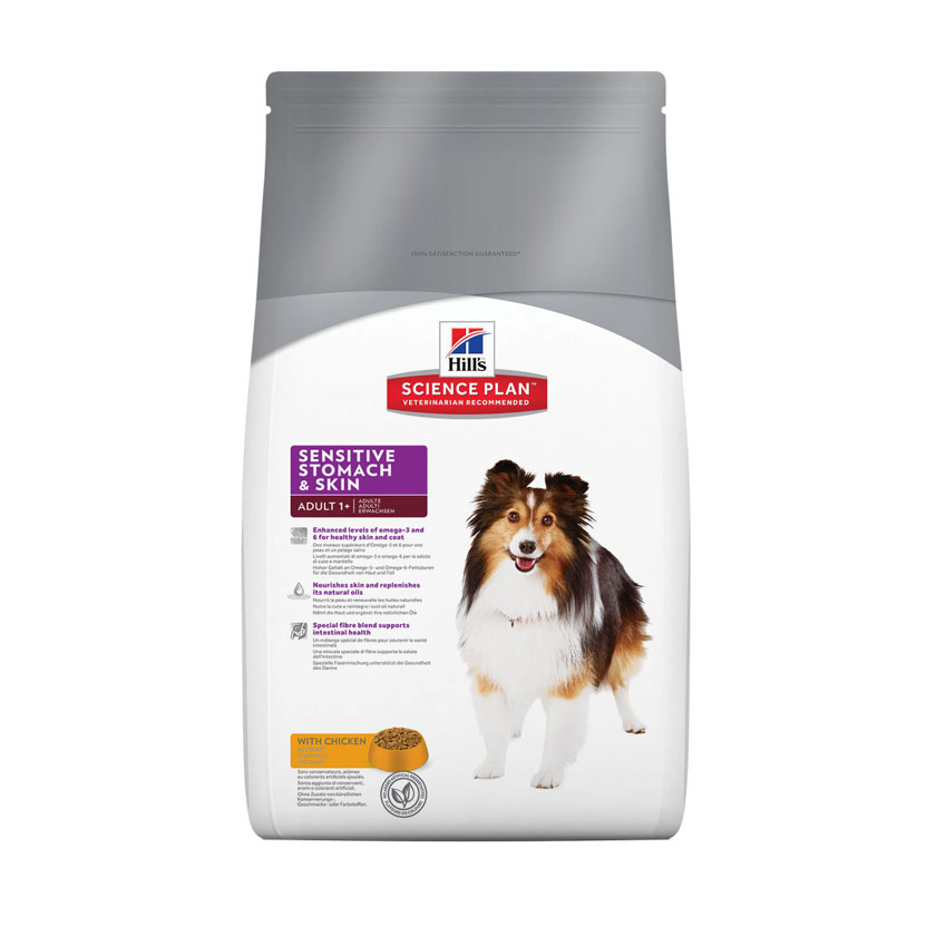 HILL'S SCIENCE PLAN ADULT SENSITIVE STOMACH & SKIN – сухий корм з куркою для дорослих собак середніх порід з чутливою шкірою і травленням