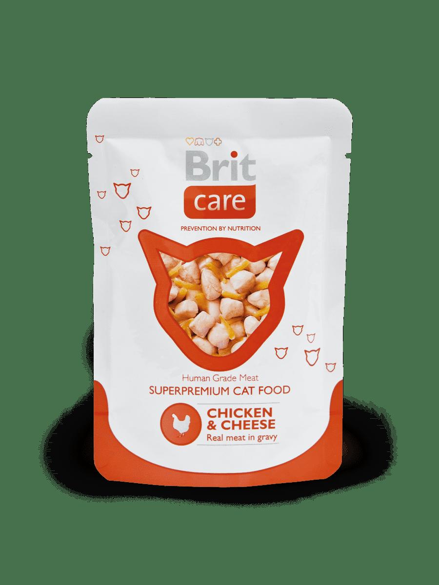 BRIT CARE CAT CHICKEN & CHEESE POUCH  – консервы с кусочками курицы и сыра для взрослых котов