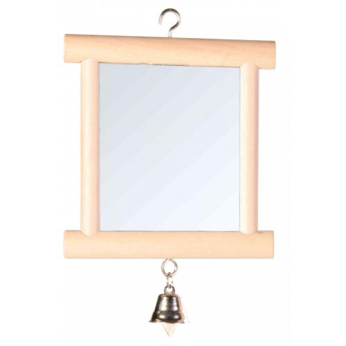 Trixie зеркало для птиц с колокольчиком в деревянной оправе