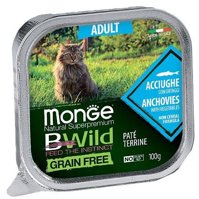 MONGE BWILD ADULT CAT FREE PATÉ TERRINE ACCIUGHE – консервированный корм с анчоусами и овощами для взрослых кошек