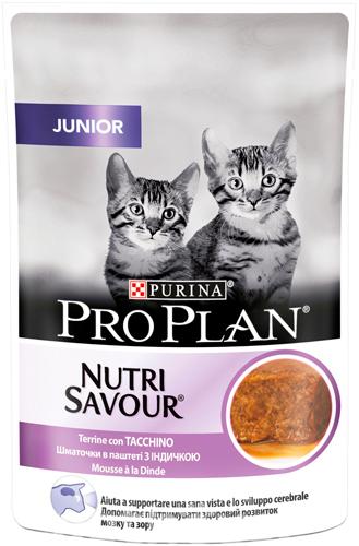 PURINA PRO PLAN JUNIOR NUTRISAVOUR – кусочки в паштете с индейкой для котят