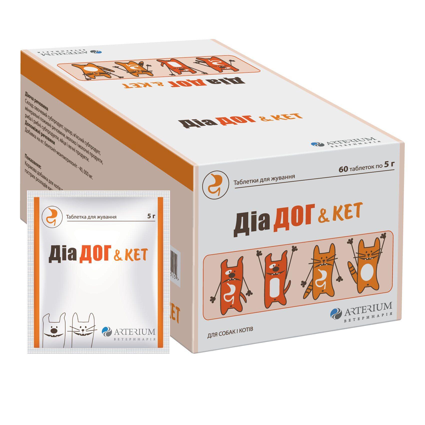 Arterium Dia Dog and Cat (Диа Дог и Кэт) – таблетки при кишечных расстройствах
