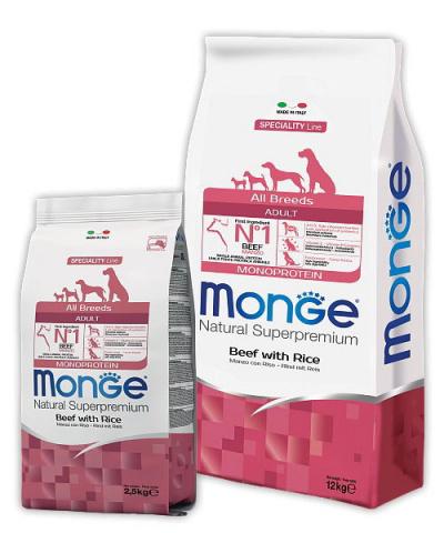 MONGE ALL BREEDS ADULT BEEF & RICE – сухой корм с говядиной и рисом для взрослых собак всех пород
