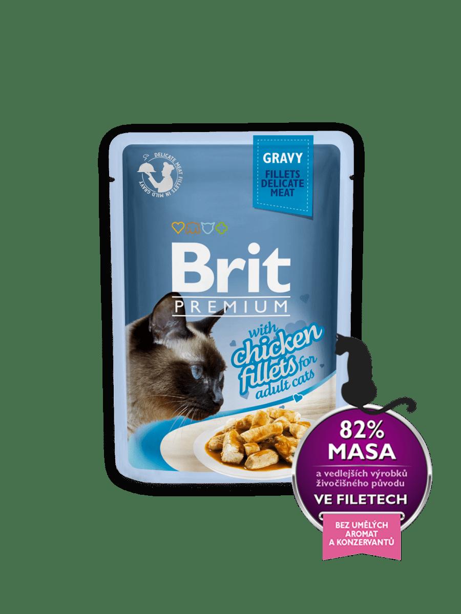 BRIT PREMIUM WITH CHICKEN FILLETS IN GRAVY – влажный корм, кусочки курицы в соусе,  для взрослых котов