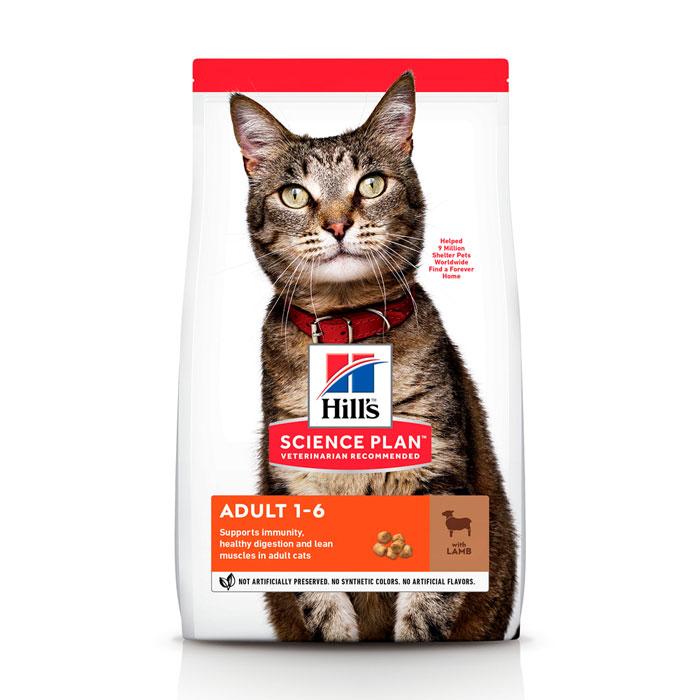 HILL'S SCIENCE PLAN ADULT OPTIMAL CARE сухой корм с ягненком для взрослых котов