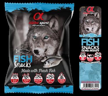 ALPHA SPIRIT SNACKS FISH – полувлажное гиппоалергенное лакомство с рыбой для взрослых собак