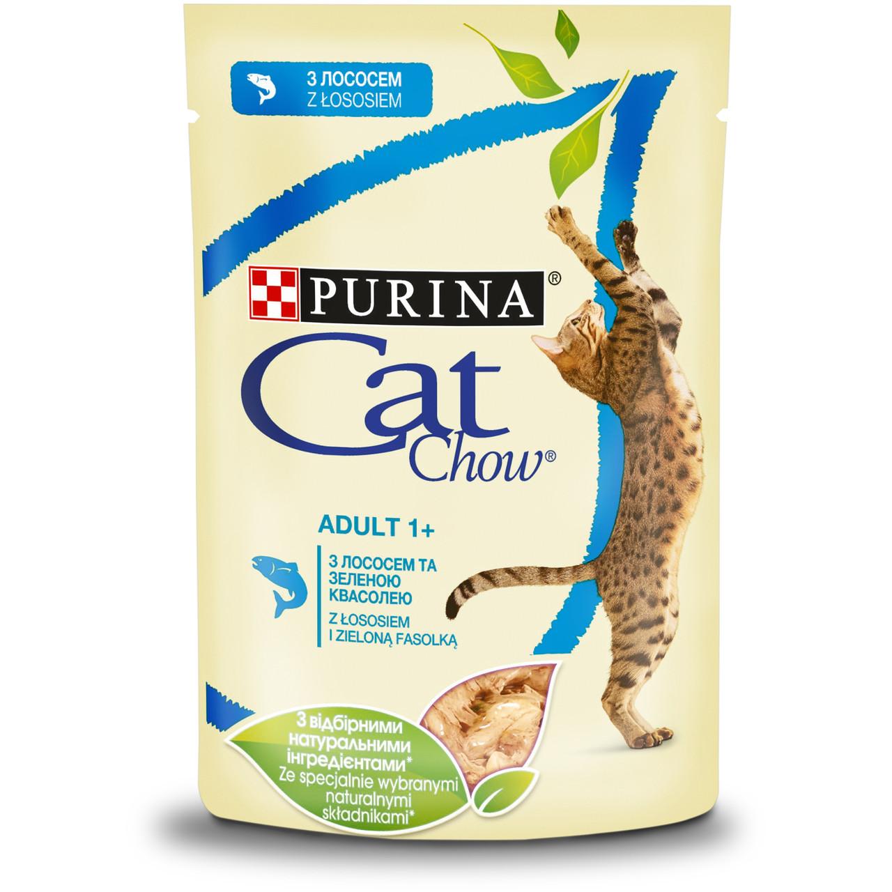 CAT CHOW консерва с лососем и зеленым горошком для взрослых котов