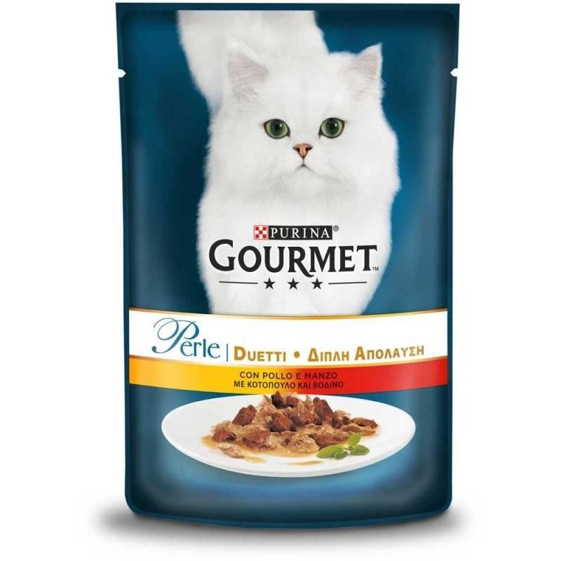 GOURMET PERLE DUO – влажный корм c курицей и говядиной для взрослых котов