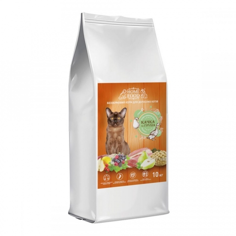 Home Food з качкою і грушею – беззерновий сухий корм для дорослих котів