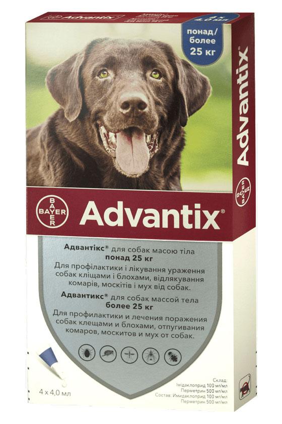 Advantix капли от блох и клещей для собак весом более 25 кг