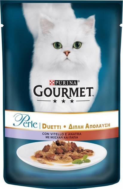 GOURMET PERLE DUO влажный корм с телятиной и уткой для взрослых котов