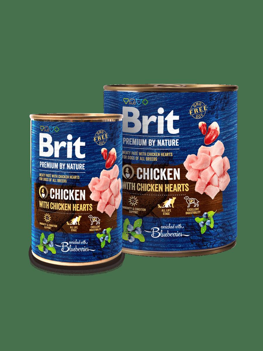 BRIT PREMIUM CHICKEN WITH HEARTS – консерви з куркою та сердечками для дорослих собак