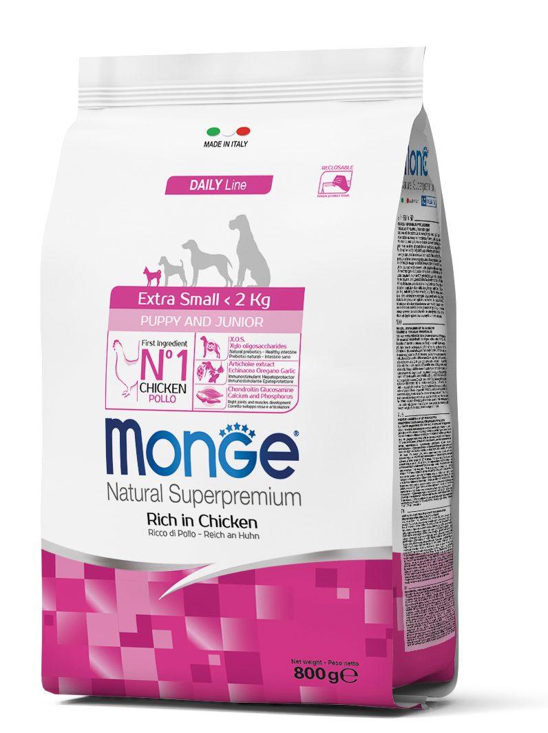 Monge Extra Small Puppy & Junior – сухой корм с курицей и рисом для щенков миниатюрных пород
