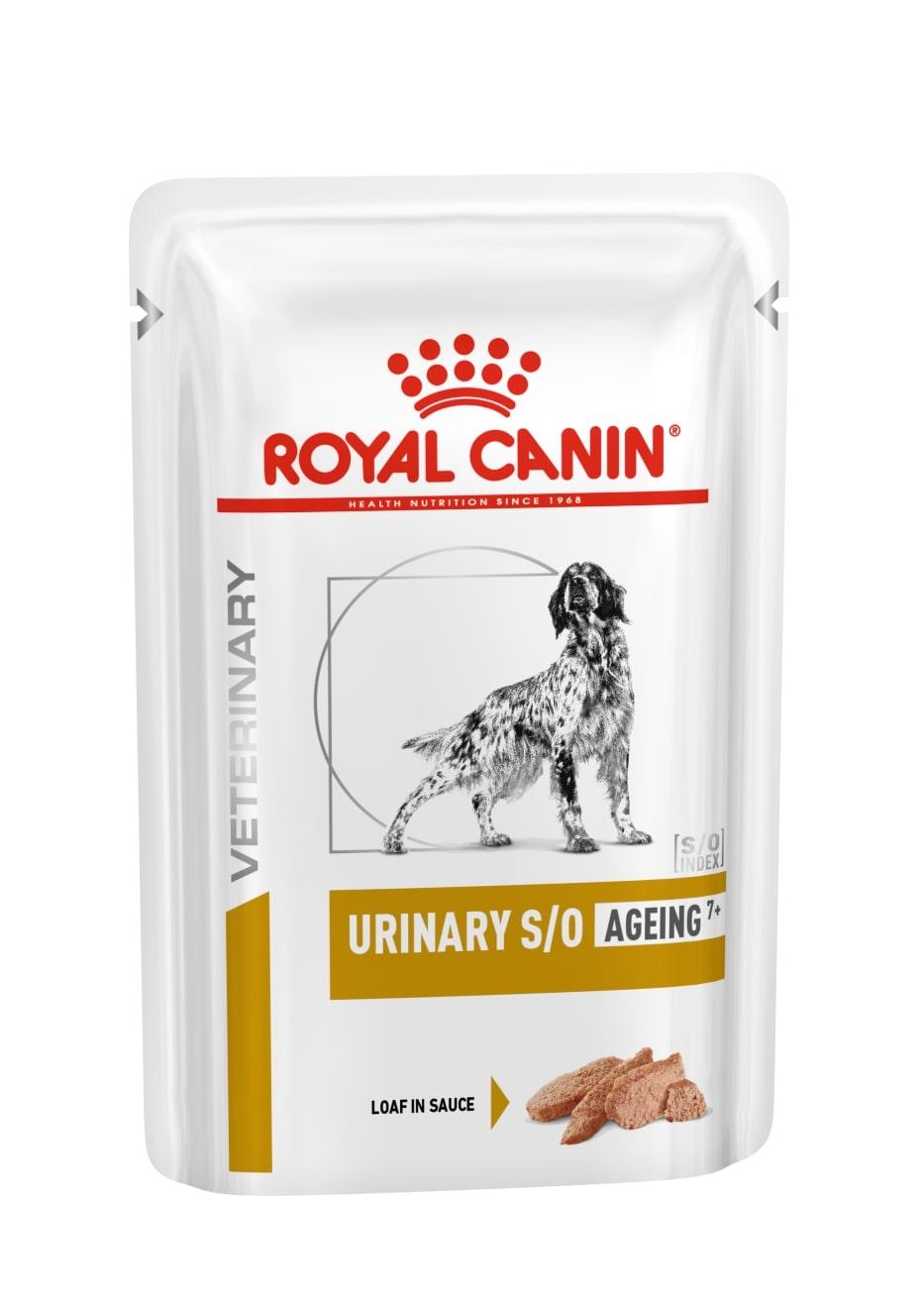 ROYAL CANINE URINARY S/O Ageing7 + – лікувальний вологий корм, паштет у соусі, для собак старше 7 років при захворюваннях сечовивідних шляхів