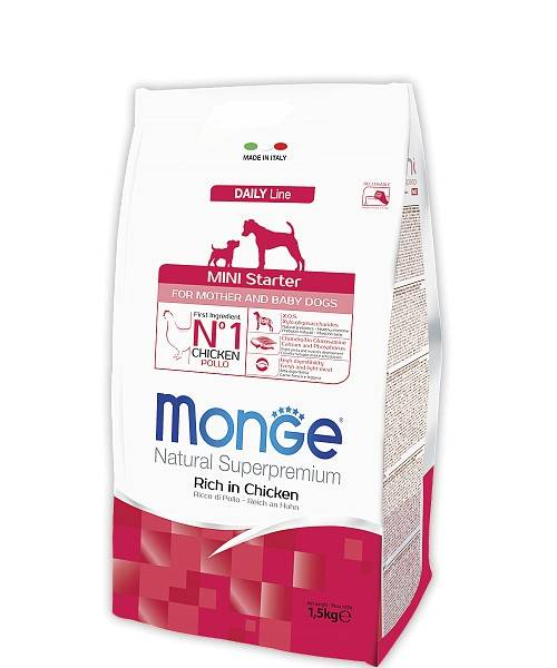 MONGE MINI STARTER FOR MOTHER AND BABY – сухой корм для щенков малых пород и собак во время беременности и лактации