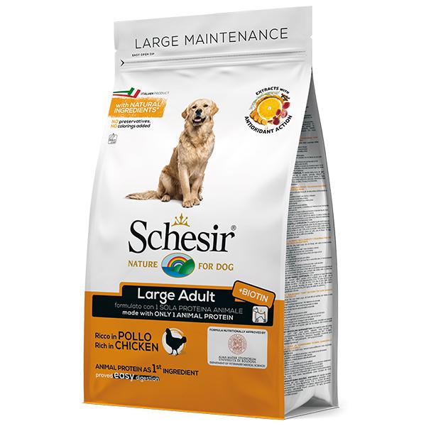 Schesir Dog Large Adult Chicken – сухой монопротеиновый корм с курицей для собак крупных пород