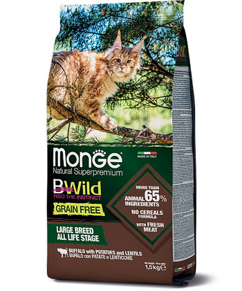 MONGE CAT GRAIN FREE BUFFALO - сухий беззерновий корм із м'ясом буйвола для котів крупних порід
