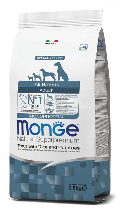 MONGE ALL BREEDS ADULT TROUT, RICE & POTATOES – сухий корм з форелю, рисом і картоплею для дорослих собак всіх порід