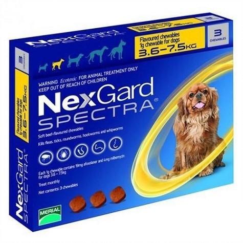 NexGard Spectra таблетки против паразитов для собак весом от 3,6 кг до 7,5 кг