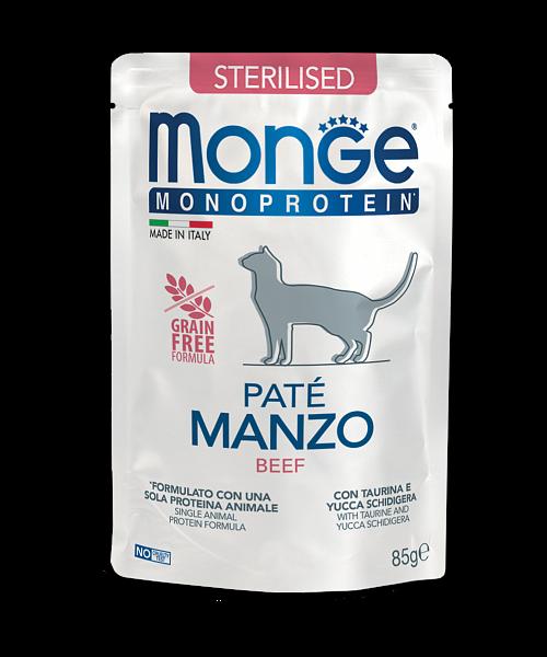 Monge Monoprotein Sterilised Beef - консервы с говядиной для стерилизованных котов