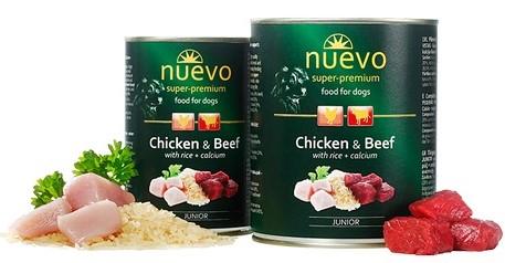 Nuevo Junior Chicken & Beef – консерви з куркою, яловичиною і рисом і кальцієм для цуценят