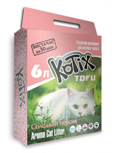 Kotix Tofu  Honey Peach – соевый наполнитель для кошачьего туалета