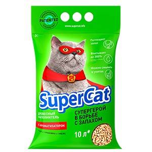 SUPERCAT наполнитель на хвойной основе с ароматом лаванды для кошачьего туалета