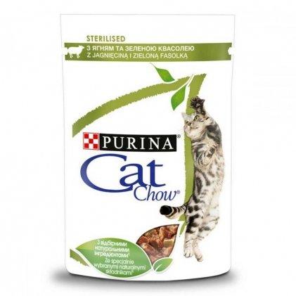 CAT CHOW STERILISED консерва с ягненком и зеленой фасолью для стерилизованных котов