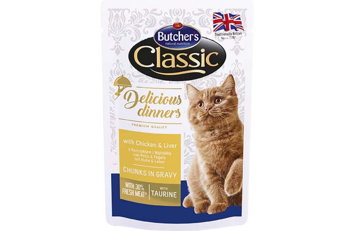 Butcher's Cat Delicious  влажный корм с курицей и печенью для взрослых котов