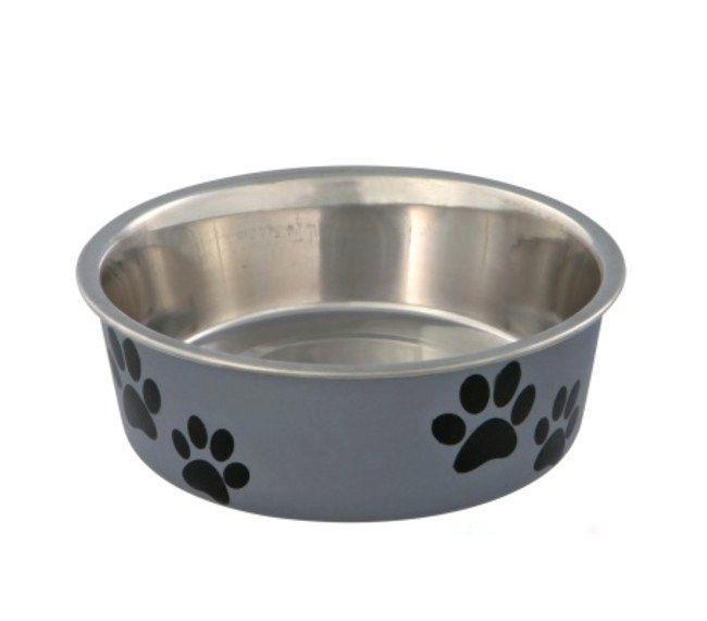Trixie металлическая миска на резине с пластиковым покрытием для собак
