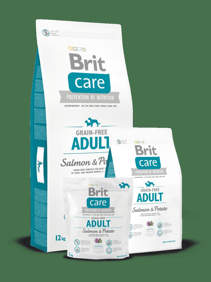 BRIT CARE GRAIN FREE ADULT SALMON & POTATO – сухий корм з лососем і картоплею для дорослих собак малих і середніх порід