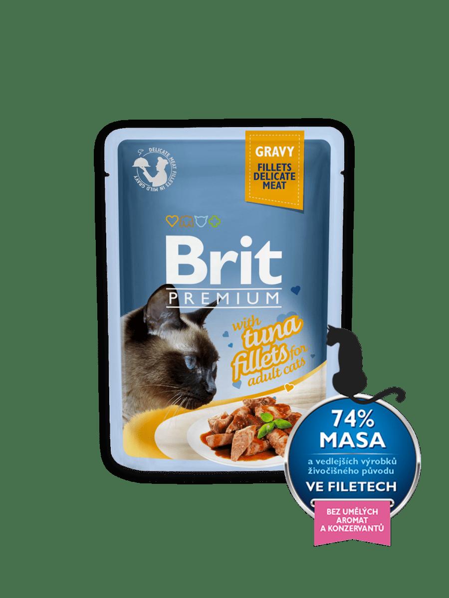 BRIT PREMIUM WITH TUNA FILLETS IN GRAVY – влажный корм, кусочки тунца в соусе, для взрослых котов