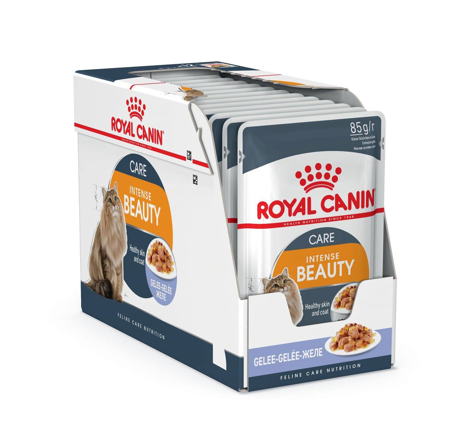 ROYAL CANIN INTENSE BEAUTY CARE wet in Jelly – влажный корм, кусочки в желе, для взрослых котов для поддержания красоты шерсти