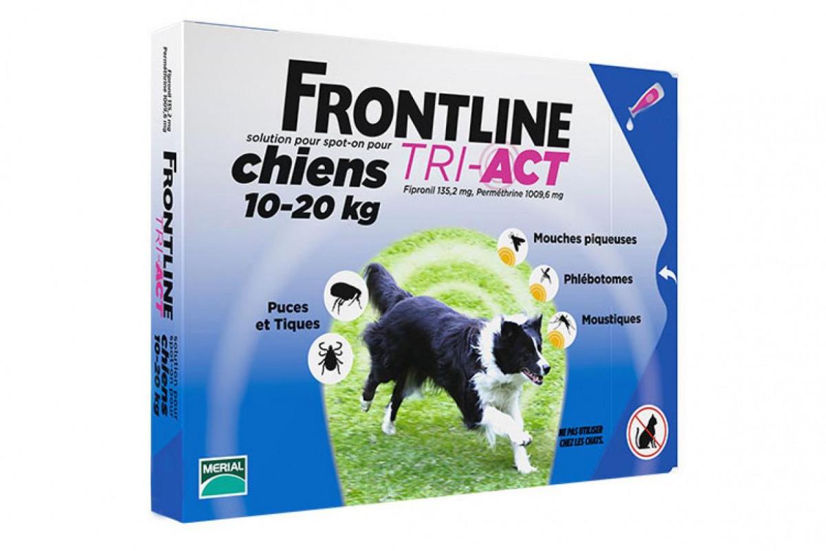 Frontline TRI-ACT капли от блох и клещей для собак весом от 10 кг до 20 кг