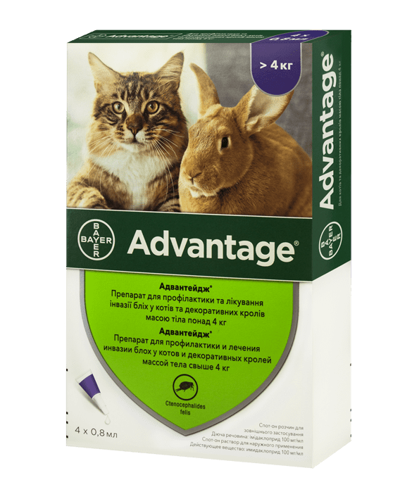 Advantage капли от блох для котов и декоративных кроликов весом массой от 4 кг