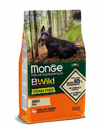 MONGE GRAIN FREE MINI ADULT CON ANATRA E PATATE – сухий беззерновий корм з качкою для дорослих собак малих порід
