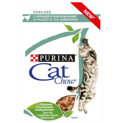 CAT CHOW STERILISED консерва с курицей и баклажанами для стерилизованных котов
