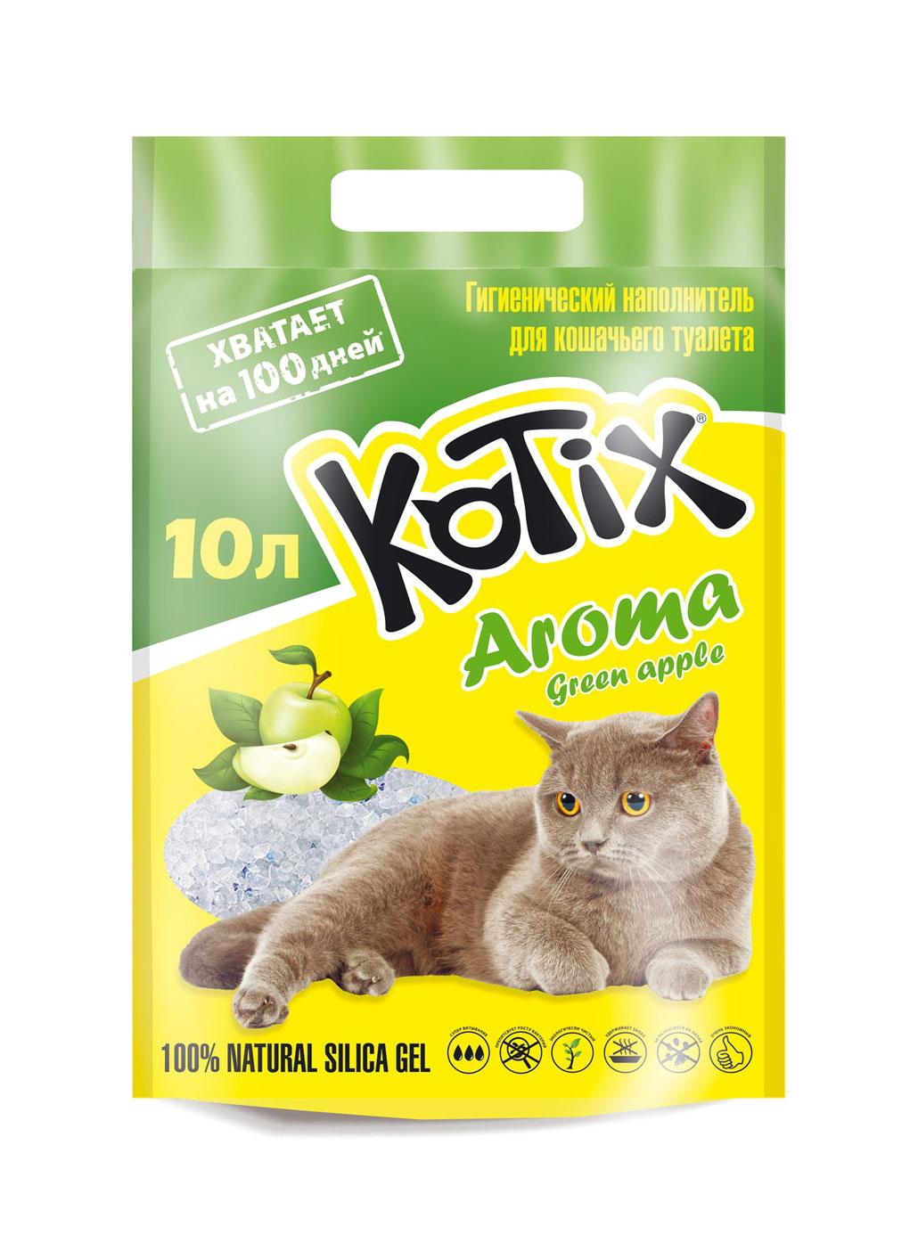 Kotix Green Apple – силікагелевий наповнювач для котячого туалету з ароматом яблука