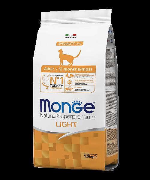Monge Cat Light – сухой низкокалорийный корм для кошек с индейкой